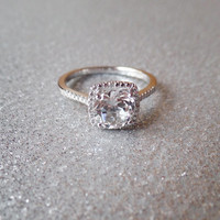 Sterling Silver Genuine White Sapphire and Diamond Halo Ring
