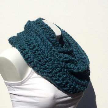 Ex-Chunky Teal Infinity Scarf, Crochet Infinity Scarf