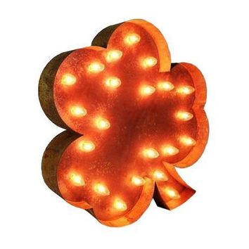 "24"" Irish Shamrock Vintage Marquee Lights Sign (Rustic)"