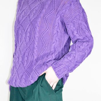 Purple Cable Knit Sweater  / S M L