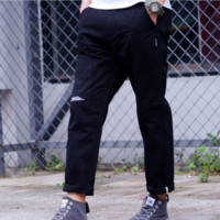 New tide brand men solid color overalls trousers pants sub English trousers casual pants male Black