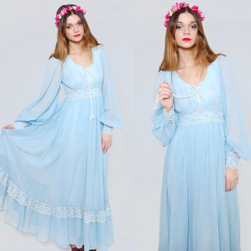 b2f40b279822 Vintage 70s GUNNE SAX Maxi Dress Baby Blue Empire Waist LACE Hippie Dress  Boho Wedding Dress