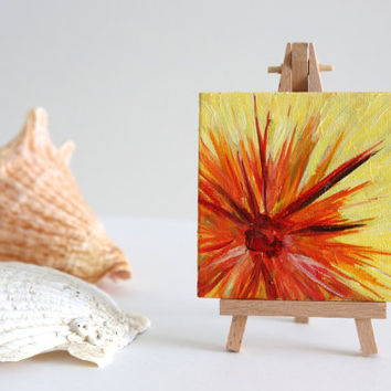 Small Canvas Painting, Original Artwork in Acrylic, Colourful Yellow Orange Desk Decor