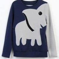 Deep Blue Elephant Loose Pattern Hoodys Tee Sweater