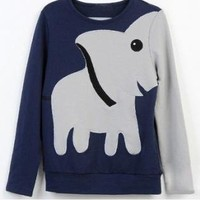 Blue Elephant Pattern Hoodys Tee Loose Sweater