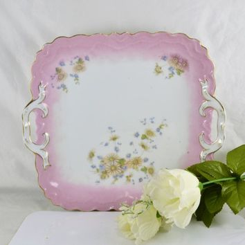 Square Handled Cake Plate Pink Gold Bavaria P. M. Crown Germany 1895  Beaded Moriage Floral Centers Daisies Forget Me Nots Cabinet Plate