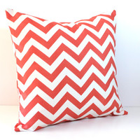Decorative Pillow Cover - Coral & White Chevron - Pick Your Size Accent Lumbar - Baby Nursery Decor - Dorm Decor - Preppy Custom Home Living