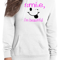 "white "" smile , i'm beautiful "" hoodie"