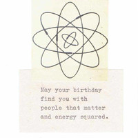Energy Squared Funny Physics Birthday Card | Vintage Science Humor Physics Pun Atomic Geek Nerdy Typed Happy Birthday Men Women