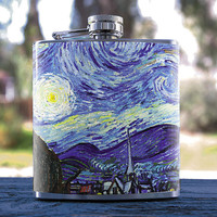 Starry Night by Van Gogh Oil Paint Style 6oz Hip Flask, for Events, Anniversaries Weddings, Gifts, Birthdays, Bridesmaid, Groomsmen & more!