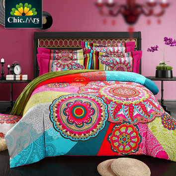 HOT ChicMrs 2017 Boho Red Blue Pink 100Thicken Cotton Bedding set Duvet Cover Bed Sheet Pillow Sham Bed Set King Queen Size 4PCS