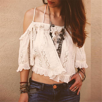Blusas 2016 Summer Style Womens Boho Blouse Sexy Women Floral Lace Crochet Off Shoulder White Shirts Casual Crop Tops Plus Size