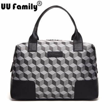 UU Family 2016 Autumn 3D Jacquard Travel Bag Women Travel Tote Weekend Bag Large Capacity Overnight Bag Men Waterproof Bag