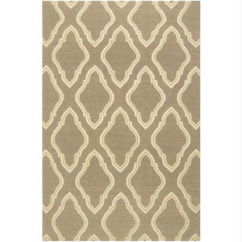 Area Rug - 2' X 3' - Taupe Beige,quince Yellow, Winter White
