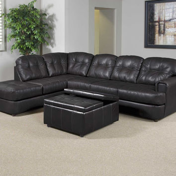 Eastern Charcoal bonded leather sectional by Serta Upholstery