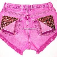 High Waisted Studded Shorts, Vintage Denim Shorts, High Rised Frayed Denim Shorts, Coachella Fashion, Fuchsia Denim Shorts, Plus Size Shorts