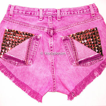 High Waisted Studded Shorts, Vintage Denim Shorts, High Rised Frayed Denim Shorts, Fashion, Fuchsia Denim Shorts, Plus Size Shorts