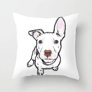 Pit bull puppy Throw Pillow by Cartoon Your Memories