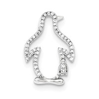 Sterling Silver CZ Penguin and Baby Slide Pendant