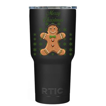 RTIC Merry Christmas Gingerbread Man on Black 30 oz Tumbler Cup