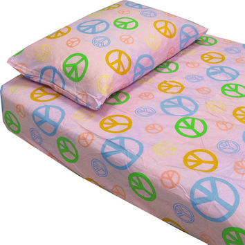 Pink Peace Signs Hippie Bedding Twin Single Bed Sheets Set