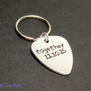 Together Keychain for Couples, Guitar Pick Tag, Hand Stamped Aluminum Key Chain with Custom Date