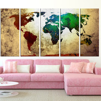 Large world map canvas print wall art, large world map art, extra large wall art, old backround world map vintage canvas art t371