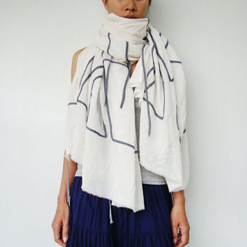 NO.1 Unisex Off White/Grey Cotton Geometric Corded Striped Appliqué Over-Sized Scarf-Hand Dyed