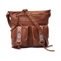 Womens Aztec Trim Crossbody Handbag