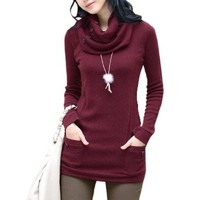 Amazon.com: Allegra K Woman Button Decor Neck Warmer Long Sleeve Round Neck Shirt Top Burgundy XS: Clothing