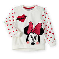 Disney Baby Girls Minnie Mouse Glitter Heart Graphic French Terry Long Sleeve Top