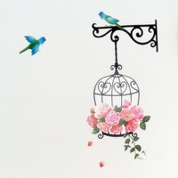 Cartoon Bird and Birdcage wall stickers for children Bedroom Living Room background DIY Home Decoration Wallpaper Free shipping