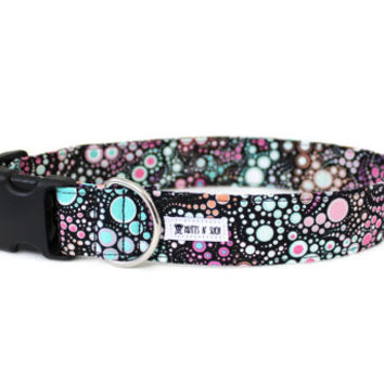 Girl Dog Collar, Pink Dog Collar, Boho Dog Collar, Wide Dog Collar, Pink, Purple, Teal, Small, Large (Upgrade to Metal Buckle or Martingale)