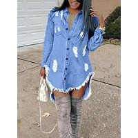 New Blue Irregular Single Breasted Pockets Ripped Destroyed High-low Denim Casual Midi Dress