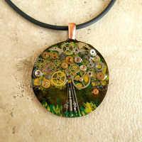 Tree Necklace: Clockwork - Handpainted - Copper Jewelry - Mothers Day - Tree Jewelry - Upcycled Jewelry - Unique Jewelry - Eath Day