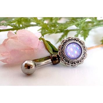 Flower Illuminating Glowing Purple Round Belly Button Ring