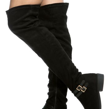 Black Faux Suede Over the Knee Riding Boots @ Cicihot Boots Catalog:women's winter boots,leather thigh high boots,black platform knee high boots,over the knee boots,Go Go boots,cowgirl boots,gladiator boots,womens dress boots,skirt boots.