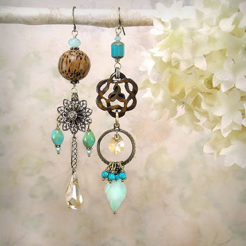 Tribal Echo 14 - Asymmetrical Mismatched Earrings OOAK, Carved Wood Knot, Gemstone, Aqua Chalcedony, Nut, Turquoise, Assemblage