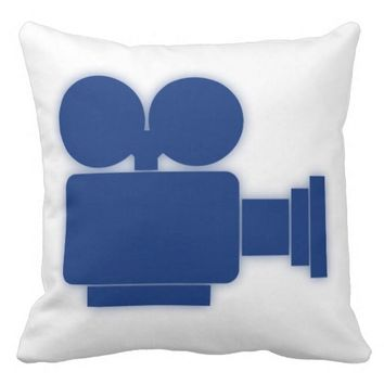 MOVIE CAMERA (BLUE) Throw Pillow