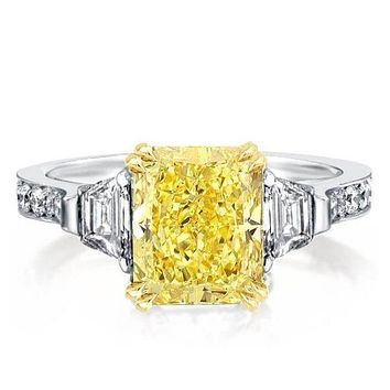 A Stunning Canary Yellow 3CT Radiant Cut Sapphire Engagement Ring