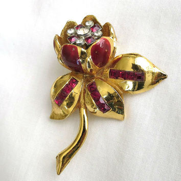 Vintage Red Enameled and Red & Clear Rhinestone Peony Flower Trembler Fur or Dress Clip or Brooch