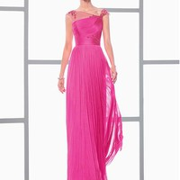 [118.99] Chic Dense Tulle Asymmetrical Neckline A-line Evening Dresses With Beaded Embroidery - dressilyme.com