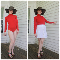 70s Bodysuit Mod Hippie Choice of Color Long Sleeve Ribbed Turtleneck XS