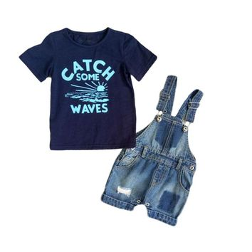 Baby Boy Clothes Sets Boys Denim Suspender Pants 2pcs Newborn Boy Clothes Infant Summer Boys Letter Printed T Shirt+Braces Jeans