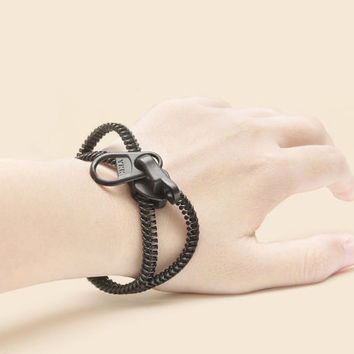Black zipper bracelets handmade peter pan collar by ZIPPERjewelry
