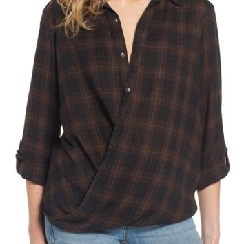 BLANKNYC Hot Cocoa Plaid Surplice Top | Nordstrom