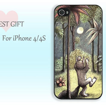 fox and trees under the moon-------- iphone 4 rubber case iphone4s apple phone  iphone 4 case iphone 4s case iphone cover for iphone4/4s