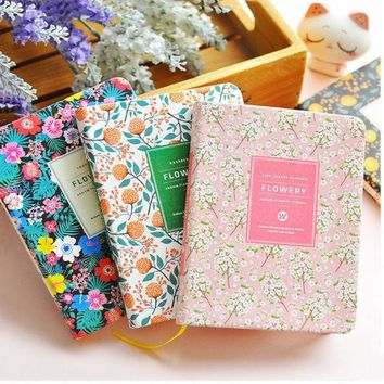 ICIK272 New Arrival Cute PU Leather Floral Flower Schedule Book Diary Weekly Planner Notebook School Office Supplies Kawaii Stationery