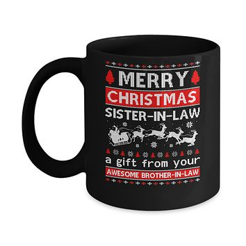 Merry Christmas Sister-In-Law A Gift From Your Brother-In-Law Sweater Mug