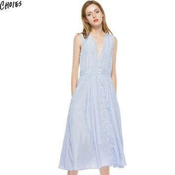Blue Stripes Casual Sleeveless Midi Dress Summer Brief Buttons Up Front Deep V Neck Loose Straight Women Simple Office Wear